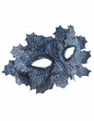 Antifaz azul con hojas brillantina azul mujer