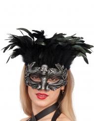 Antifaz plateado con plumas mujer