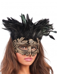 Antifaz dorado con plumas mujer