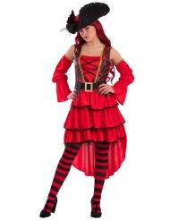 Disfraz corsaria rojo mujer
