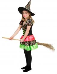 Disfraz bruja a lunares multicolores niña Halloween