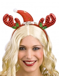 Diadema reno y gorro rojo adulto Noel