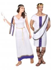 Disfraz de pareja romano violeta
