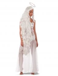 Peluca larga ángel con aureola mujer
