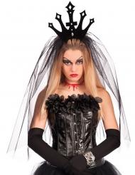 Corona negra con velo mujer