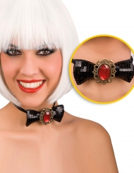 Pajarita con diamante rojo adulto Halloween