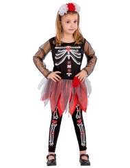 Disfraz esqueleto rojo y negro niña