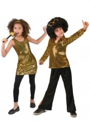 Disfraz de pareja disco dorado infantil
