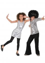 Disfraz de pareja disco lentejuelas plata niño