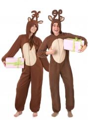 Disfraz de pareja reno de Navidad adulto