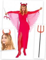 Kit disfraz diablesa mujer con cuernos y tridente Halloween