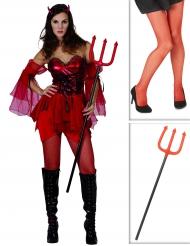 Kit disfraz diablesa mujer con medias y tridente Halloween
