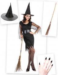 Kit disfraz bruja mujer con escoba y sombrero Halloween