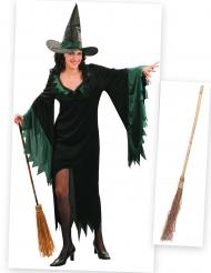 Kit disfraz bruja mujer con escoba Halloween
