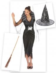 Kit disfraz bruja araña mujer con escoba y sombrero Halloween