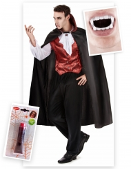 Kit disfraz vampiro hombre con dientes y sangre falsa Halloween
