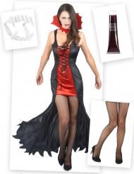 Kit disfraz de vampiro mujer con dientes sangre falsa y medias Halloween