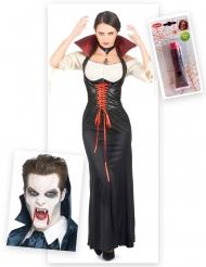 Kit disfraz de vampiro mujer con dientes y sangre falsa Halloween