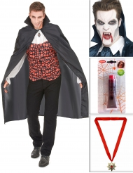 Kit vampiro con capa, dientes, sangre artificial y medalla Halloween