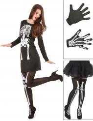 KiDisfraz esqueleto mujer con medias y guantes Halloween
