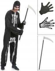 Kit disfraz esqueleto hombre guadaña y guantes Halloween