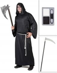 Kit disfraz segador con guadaña y maquillaje Halloween