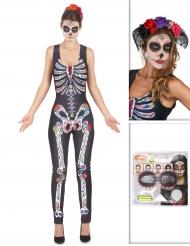 Kit disfraz Día de los muertos con cofia y maquillaje Halloween