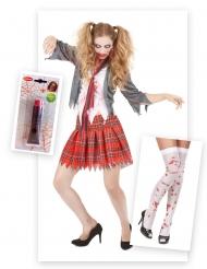 Kit disfraz zombie colegiala con sangre falsa y medias Halloween
