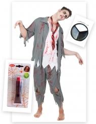Kit disfraz zombie hombre con sangre falsa y maquillaje Halloween