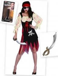Kit disfraz pirata zombie con sangre falsa y espada Halloween