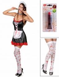 Kit disfraz doncella zombie con medias y sangre falsa Halloween
