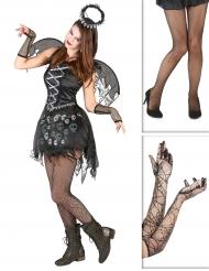 Kit disfraz ángel gótico con medias y guantes Halloween