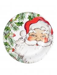 8 Platos de cartón Papá Noel 23 cm