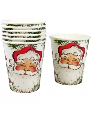 8 Vasos de cartón Papá Noel 250 ml