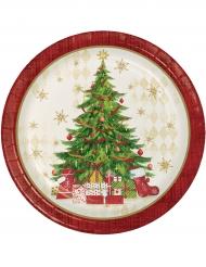 8 Platos de cartón rojo árbol de Navidad 22 cm