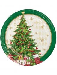 8 platos pequeños de cartón árbol de Navidad 18 cm