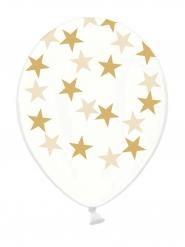 6 Globos látex transparentes estrellas doradas
