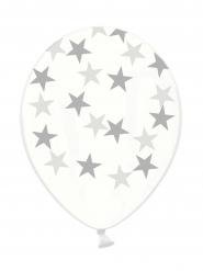 6 Globos látex transparentes estrellas plateadas