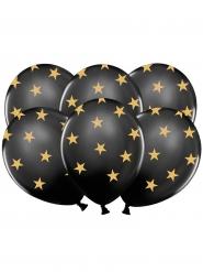 6 Globos látex negro estrellas doradas
