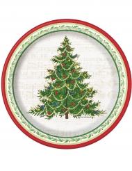 8 Platos pequeños árbol de Navidad decorado 18 cm