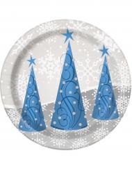 8 Platos pequeños copos y reno de Navidad 18 cm