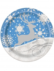 8 Platos copos y renos de Navidad 23 cm