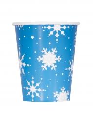 8 Vasos cartón copos y reno de Navidad 270 ml