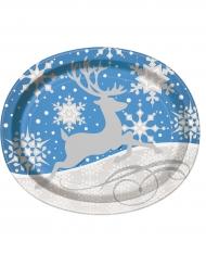 8 Platos grandes avalados copos y reno de Navidad 25 x 31 cm
