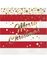 16 Servilletas de papel Navidad rojo y oro 33 x 33 cm