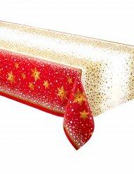 Mantel de plástico Navidad rojo y dorado 137 x 213 cm
