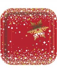 8 Platos de cartón Navidad rojo y oro 18 cm