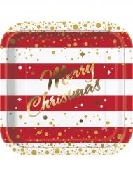 8 Platos de cartón Navidad rojo y dorado 23 cm