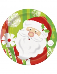 8 Platos pequeños en cartón Papá Noel 18 cm