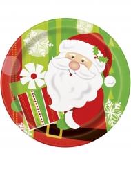 8 Platos de cartón Papá Noel Navidad 23 cm